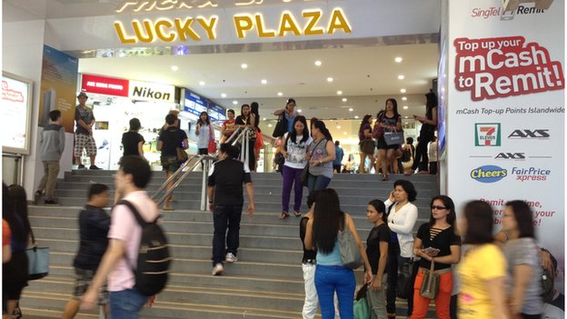 The shopping mall Lucky Plaza on Orchard Road is a popular Filipino hub in Singapore