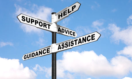 Help Support Advice Assistance and Guidance on a signpost