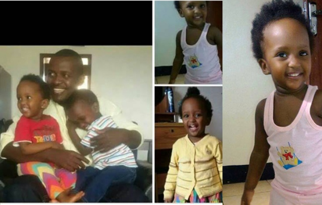 Kamanzi (L) and his kids. Right is the tortured baby