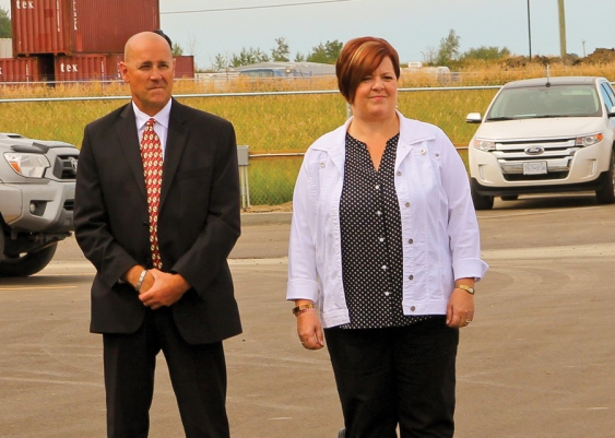 Mayor Lori Ackerman (right) stands with Fort St. John Chamber of Commerce President Tony Zabinsky at the grand opening of STEP Energy Services' new office on Tuesday.   Photo By William Stodalka